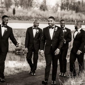 Groomsman on the grounds of Rivercrest Golf Club and Preserve
